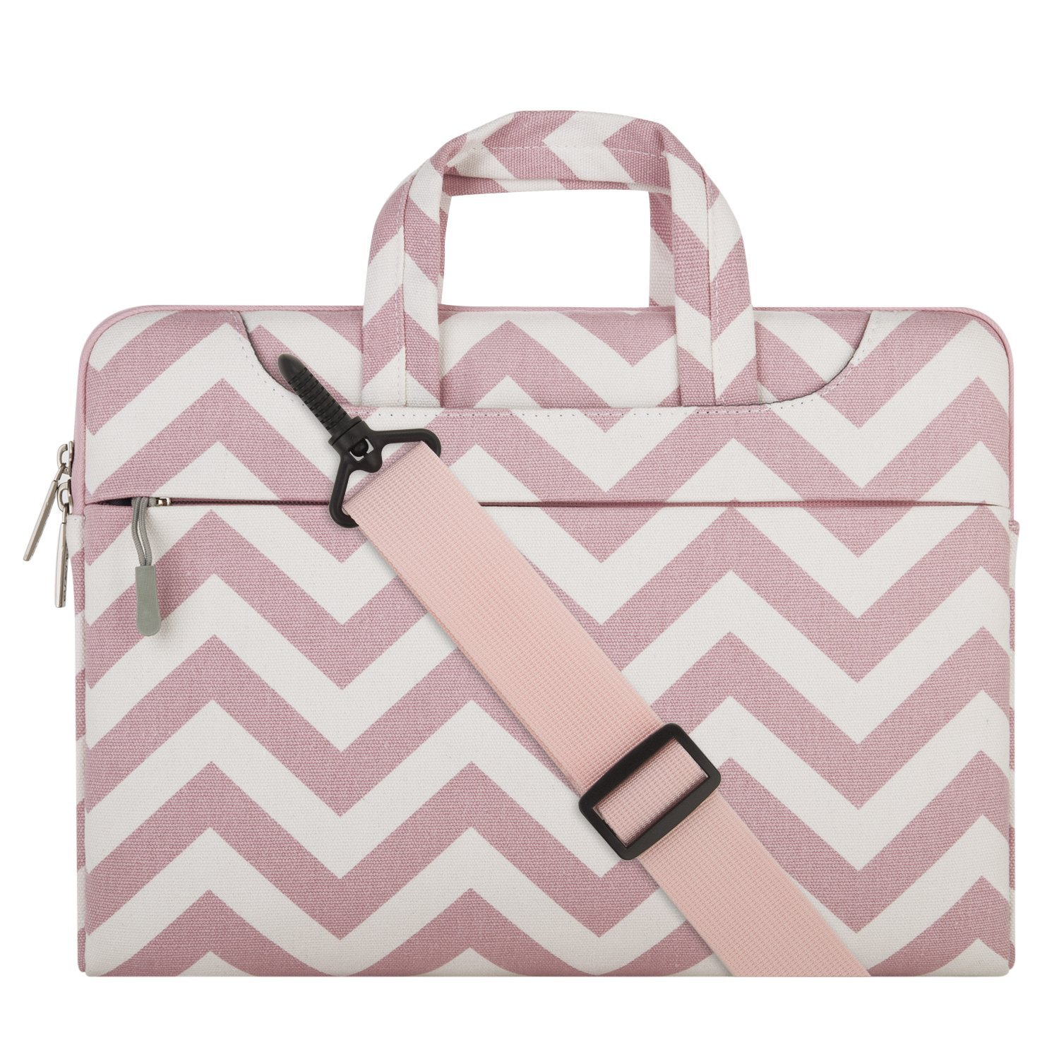 Mosiso Chevron Style Fabric Laptop Sleeve Case Cover Bag with Shoulder Strap for 13-13.3 Inch MacBook Pro, MacBook Air, Notebook Computer, Pink