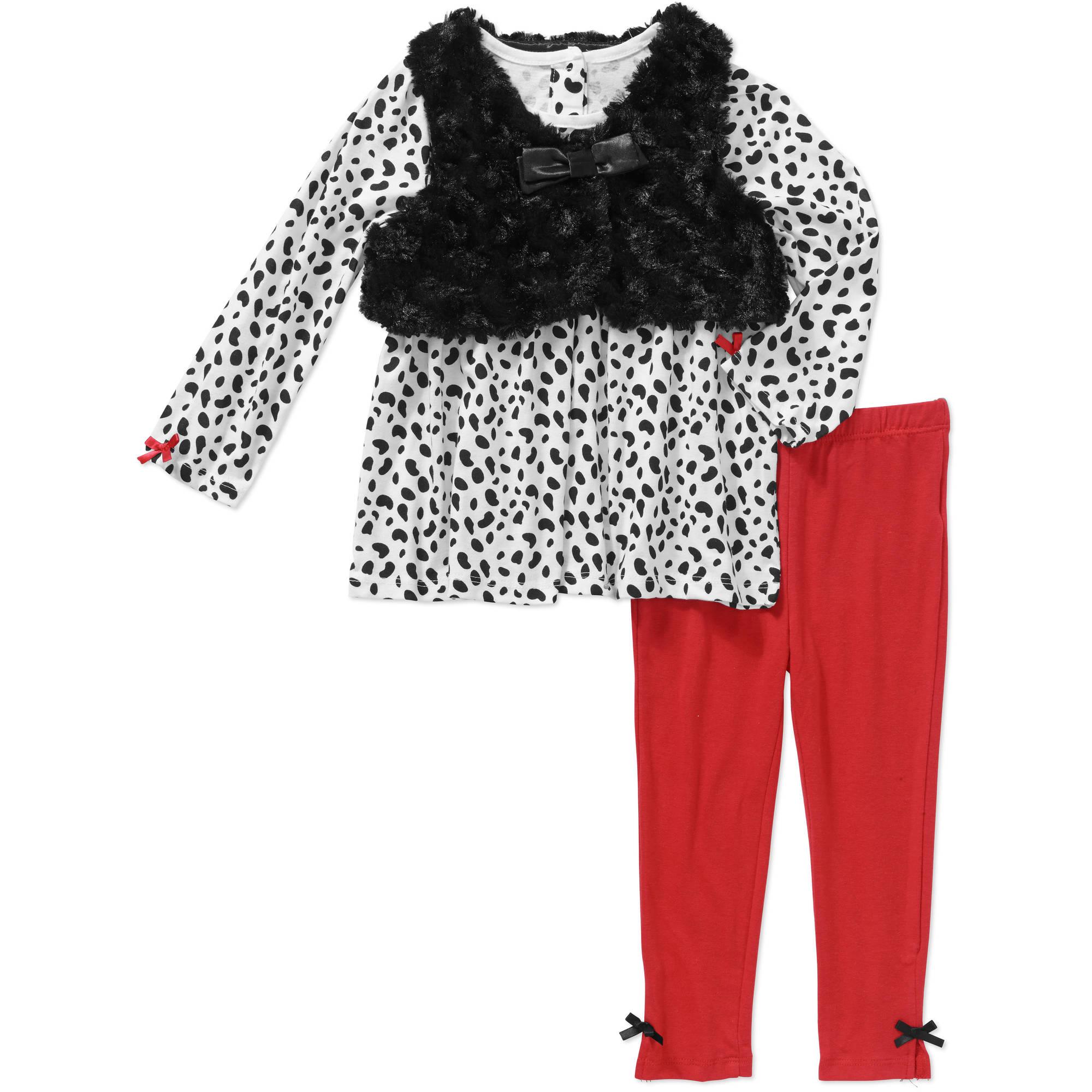Quiltex Newborn Baby Girl Cheetah Print Top, Legging, and Faux Fur Vest 3 pc Set