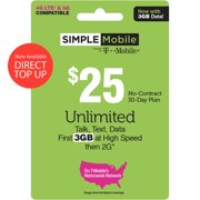 Simple Mobile $25 Unlimited 30-Day Prepaid Plan (3GB at high speeds) + International Calling Credit Direct Top Up