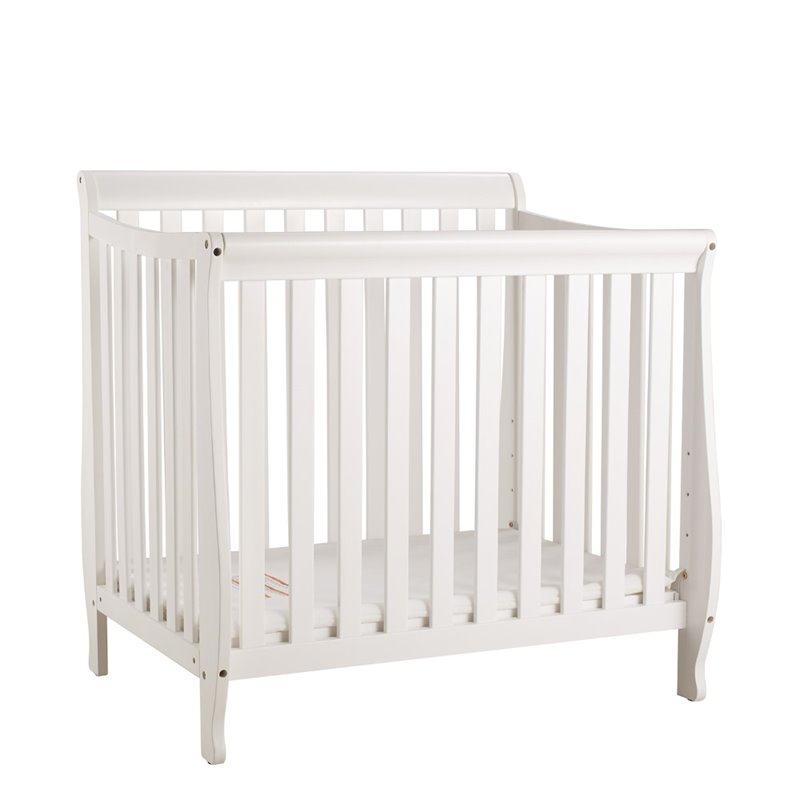 Athena Alice Mini Crib with Mattress Pad in White by AFG Baby Furniture
