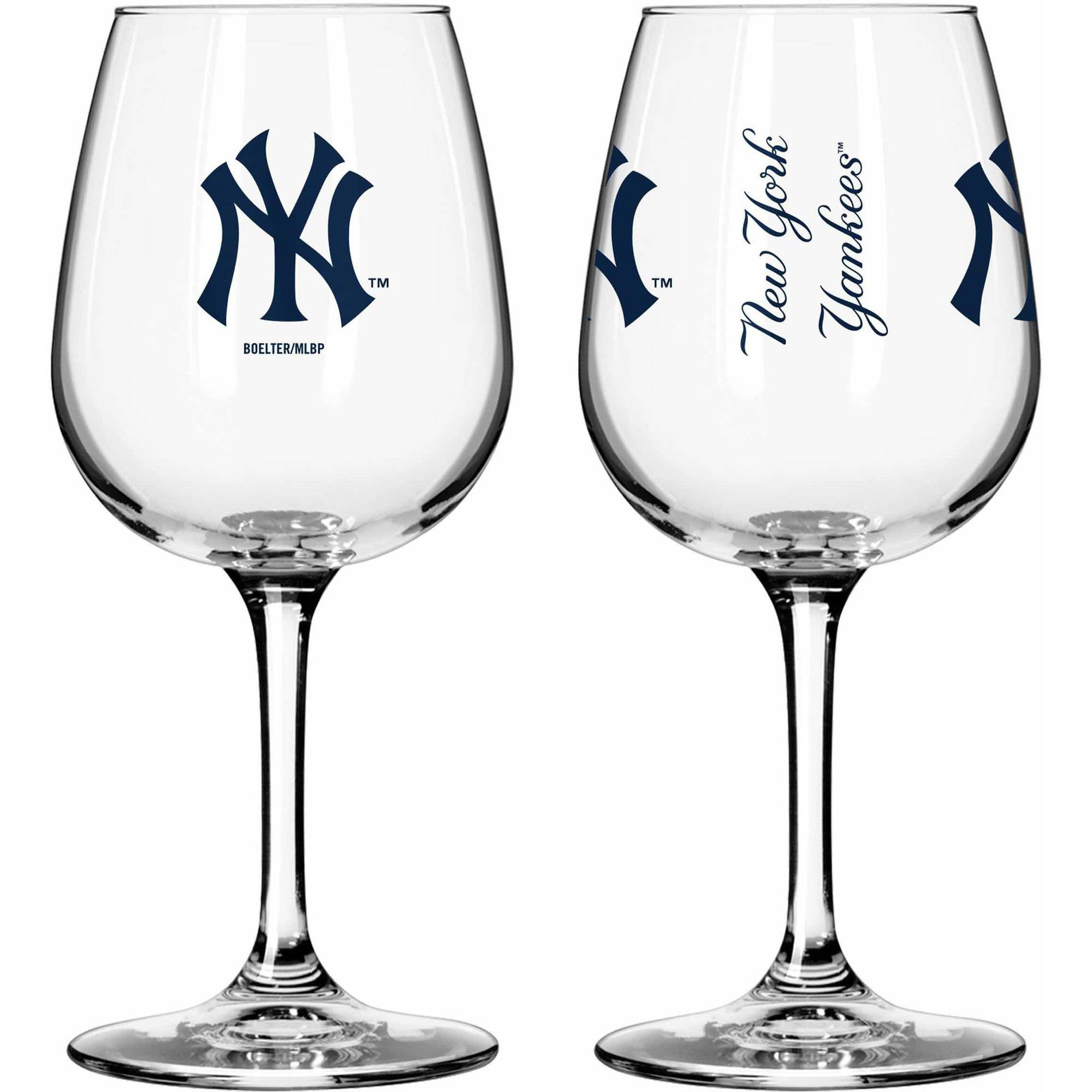 Boelter Brands MLB Set of Two 12 Ounce Wine Glass Set, New York Yankees