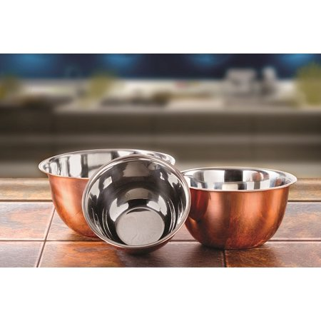 Imperial Home High Quality Stainless Steel Copper Plated Mixing Bowl 3 Piece Bowls Set