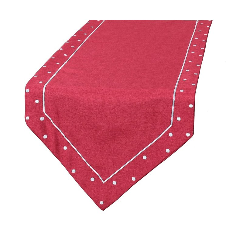 "Xia Home Fashions Polka Dot 15"" x 72"" Table Runner in Red"