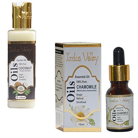Indus valley chamomile essential oil (15ml) with coconut carrier oil (100ml)-100% pure natural & undiluted oil- Cold pressed, aromatherapy- Ideal for hair loss treatment, hair growth, (Best Essential Oils For Female Hair Loss)