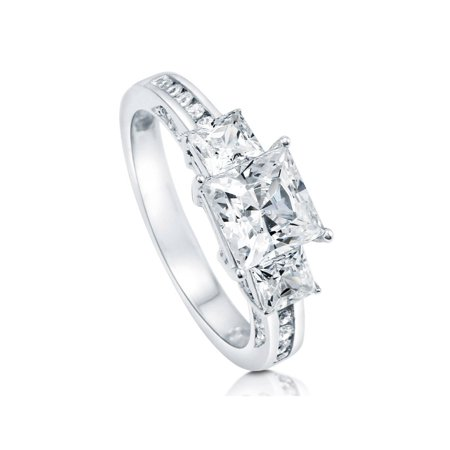 Rhodium Plated Sterling Silver Cubic Zirconia CZ 3-Stone Promise Engagement Ring Size 10 ()