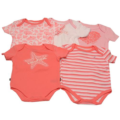 Nautica Baby Girls White Coral Sea Star Stripe Pattern 5 Pcs Onesie Set 3-9M