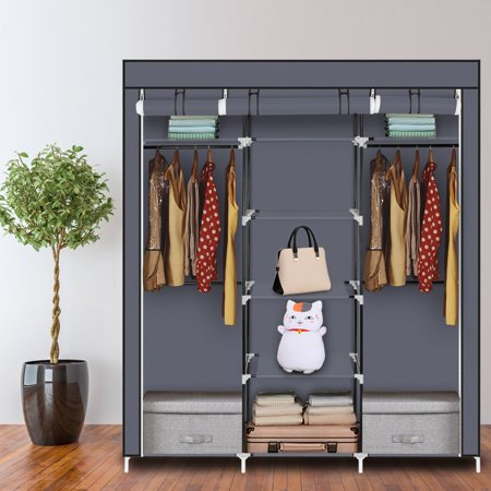 HBUDS Portable Clothes Closet Non-Woven Fabric Wardrobe Double Rod Storage Organizer 5 Layers 9 Grids - Double Hanging Wardrobe
