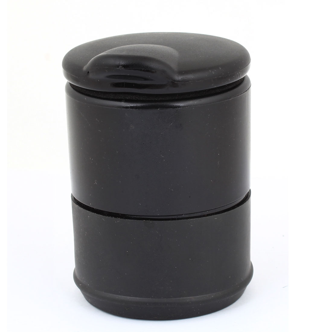 Portable Plastic Shell Cylinder Shaped Ashtray for Car, Black