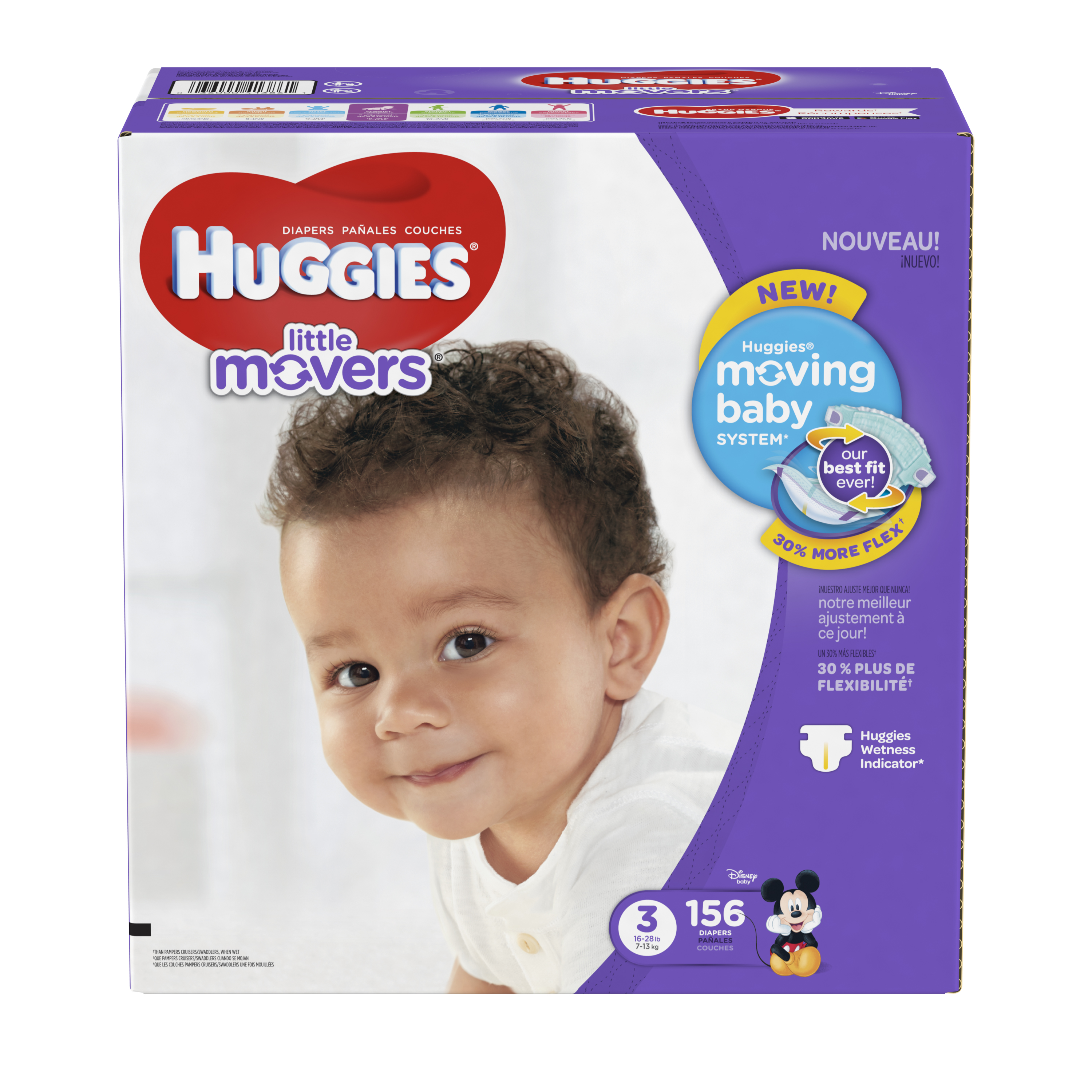HUGGIES Little Movers Diapers, Size 3, 156 Ct