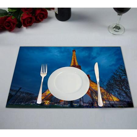 YKCG Closeup View Romantic City France Paris Tower Placemats Size 12x18 inches,Set of 2 - Paris City Size