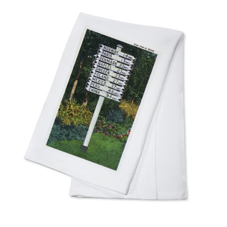 Maine   Mile Marker Sign Post Of Odd Distances To Different Cities  Countries  100  Cotton Kitchen Towel