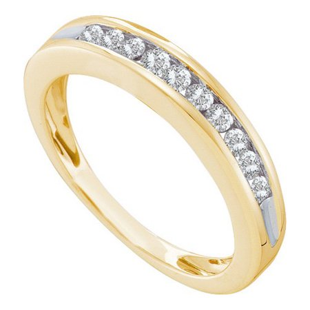 10K Yellow Gold 0.25ctw Stunning Channel Set Diamond 10 Stone Fashion Band Ring