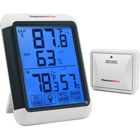 ThermoPro TP65 Wireless Temperature humidity Indoor Outdoor Digital Thermometer Wireless Hygrometer and Humidity Monitor with Jumbo Touchscreen and Backlight Humidity gauge Humidity Temperature Transmitter