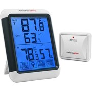 ThermoPro TP65 Wireless Temperature humidity Indoor Outdoor Digital Thermometer Wireless Hygrometer and Humidity Monitor with Jumbo Touchscreen and Backlight Humidity gauge