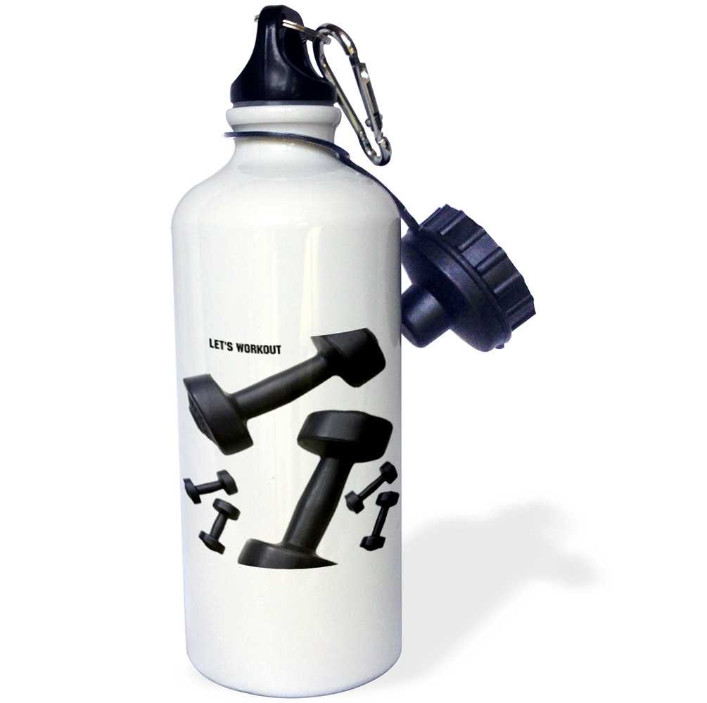 3dRose Exercise, Sports Water Bottle, 21oz