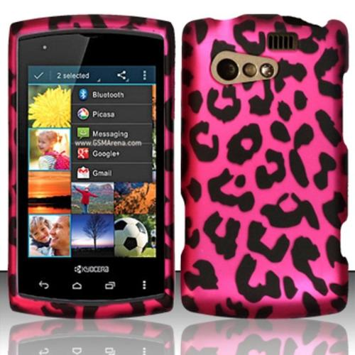Insten For Kyocera Rise C5155 Rubberized Design Cover Case - Pink Leopard