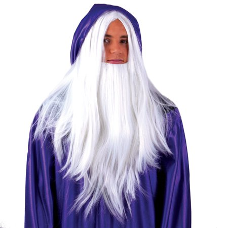 Sorcerer Gandolf Merlin Wig Warlock Wizard Beard Costume Accessory Long White (Funny Wig)
