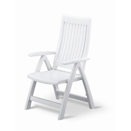 Elegant Folding Reclining Patio Chair With High Back, White Frame