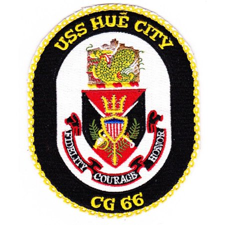 USS HUE CITY CG-66 PATCH USN NAVY SHIP TICONDEROGA CLASS GUIDED MISSILE CRUISER (Ticonderoga Class Cruiser)
