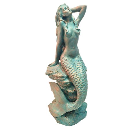 Homestyles 28 in. Giant Sexy Mermaid Sitting on Coastal Rock In Bronze Patina Beach Nautical Garden Statue ()