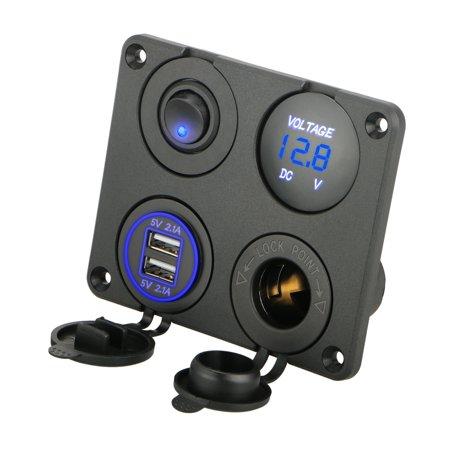 4 in 1 Multifunction Panel Power Outlet Socket Charger with 12V Cigarette  Socket, Blue Digital Voltmeter, Double USB Power outlet Socket, ON-OFF