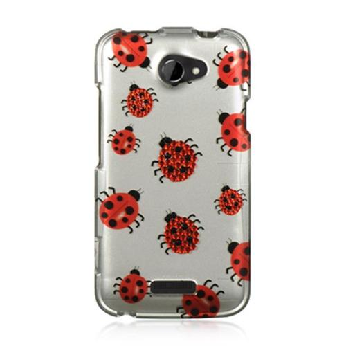 HTC One X Case, by DreamWireless Rhinestone Diamond Bling Hard Snap-in Case Cover For HTC One X, Silver/Red