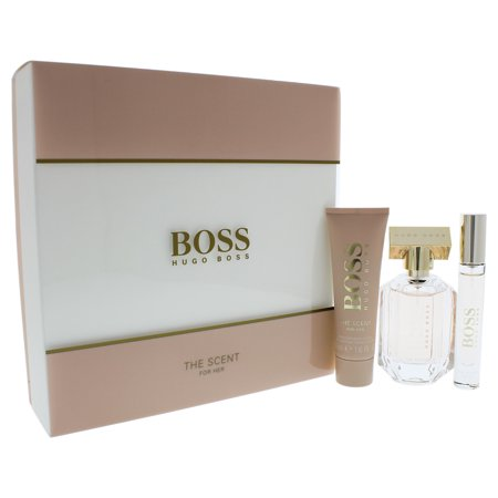 Boss The Scent by Hugo Boss for Women - 3 Pc Gift Set 1.6oz EDP Spray, 0.25oz EDP Spray, 1.6oz Body (Boss Femme Gift Set)