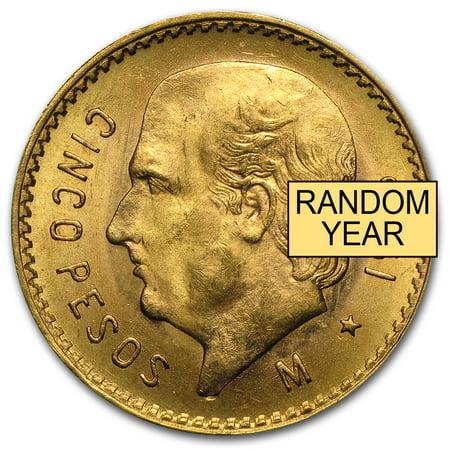 Mexico Gold 5 Pesos AGW .1205 (Random Year) Carson City Gold Coins