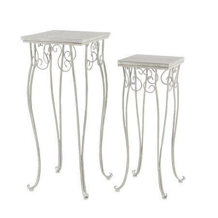 Decmode Traditional 23 X 28 Inch Wood And Iron Square Planter Stands - Set of 2