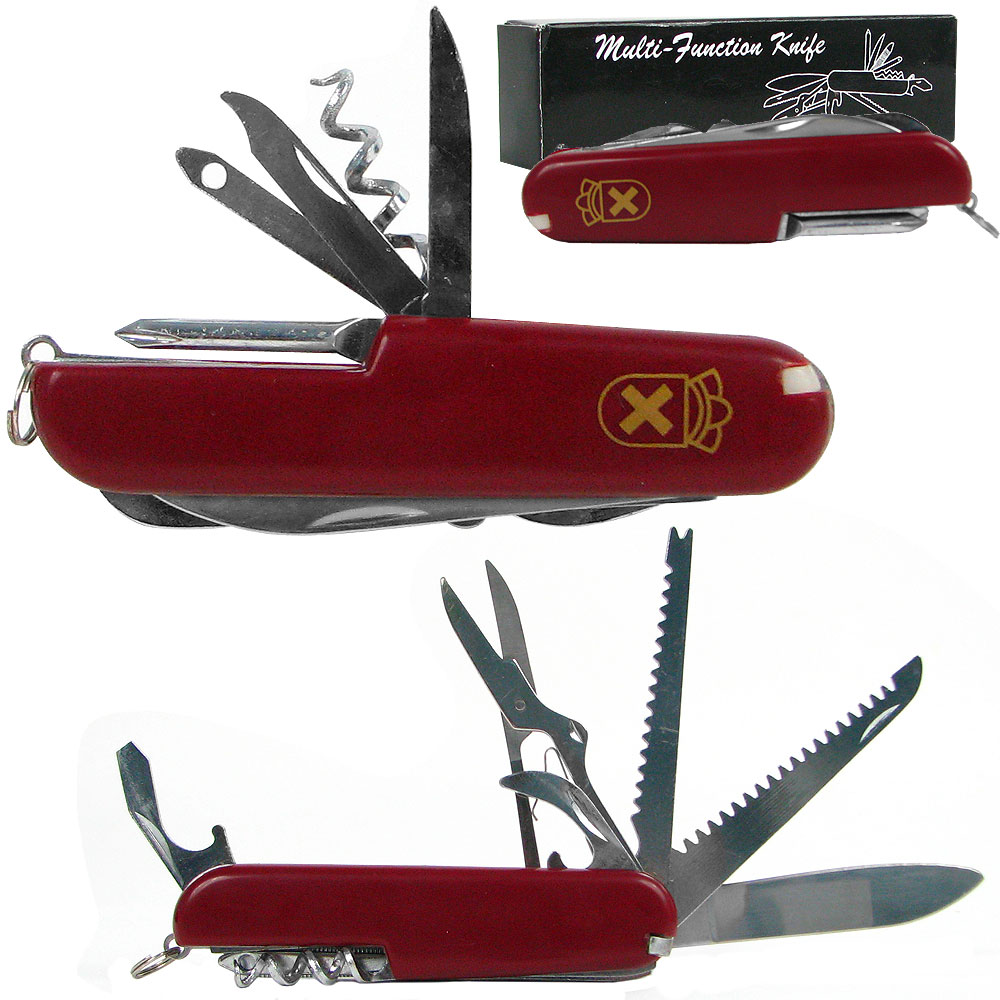 """3.5"""" Red 13 Function Swiss Type Army Knife by Whestone"""
