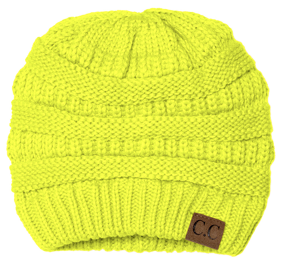 Thick Knit Soft Stretch Beanie Cap - Neon Yellow