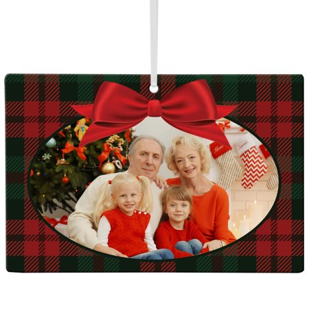 Personalized Greatest Gift Photo Wooden Rectangle Ornament - Plaid-Available in Plaid or Snowflake](Personalized Bulk Gifts)