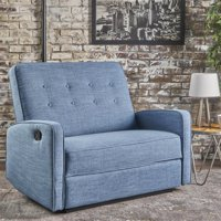 Noble House Callico Buttoned Fabric Reclining Loveseat,Blue
