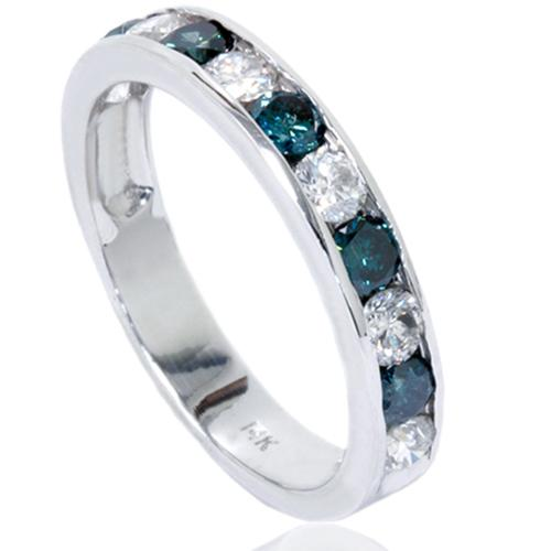 1 carat Channel Set Treated Blue & White Diamond Ring 14K White Gold