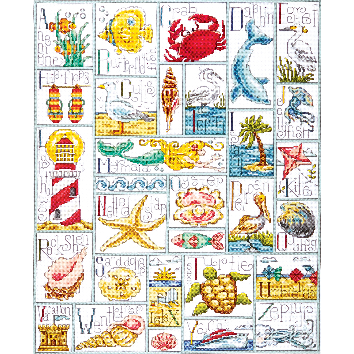 """Tobin Ocean ABC Counted Cross Stitch Kit, 16"""" x 20"""", 14 Count"""