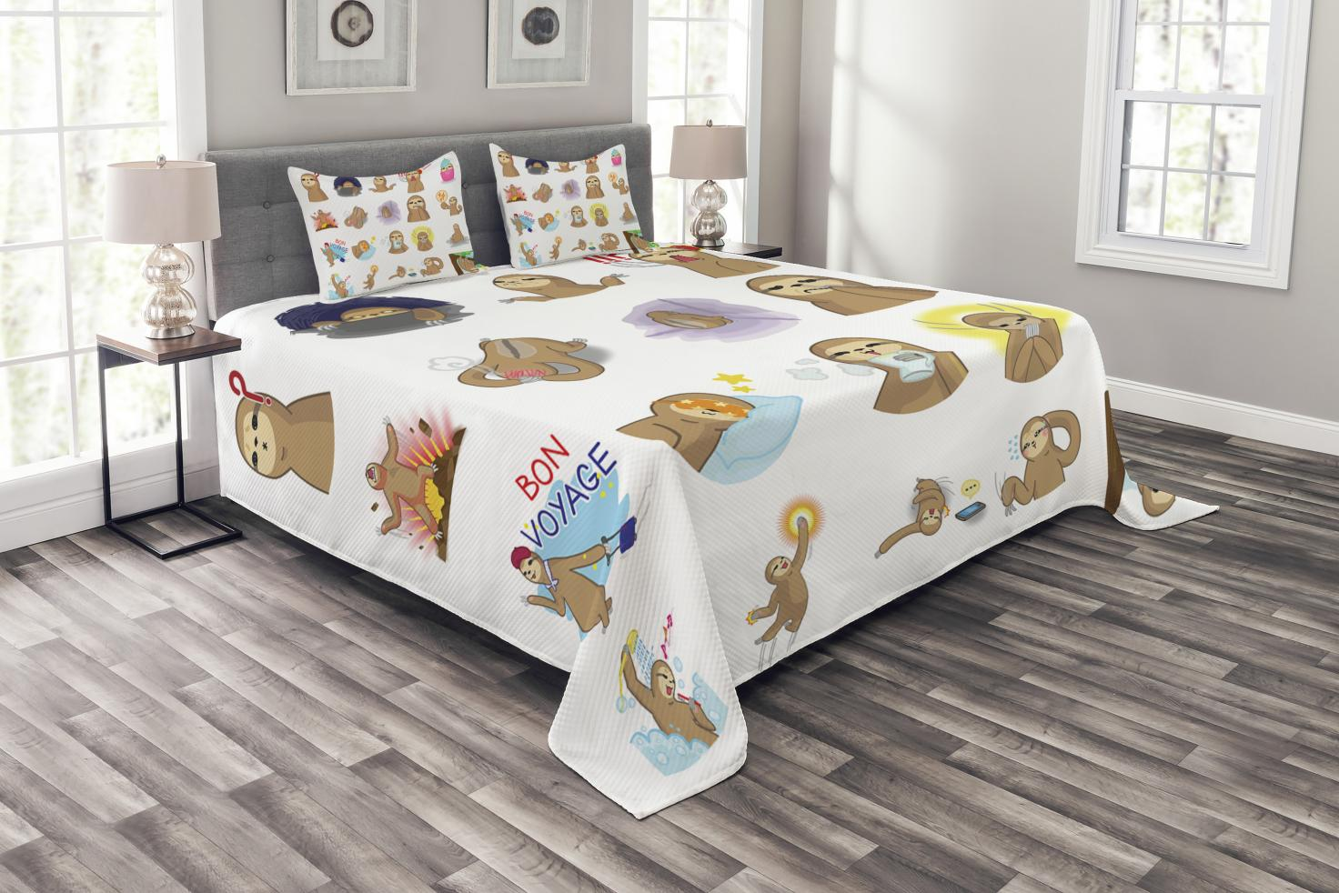 Cute Sloths on Branches Print Sloth Quilted Bedspread /& Pillow Shams Set
