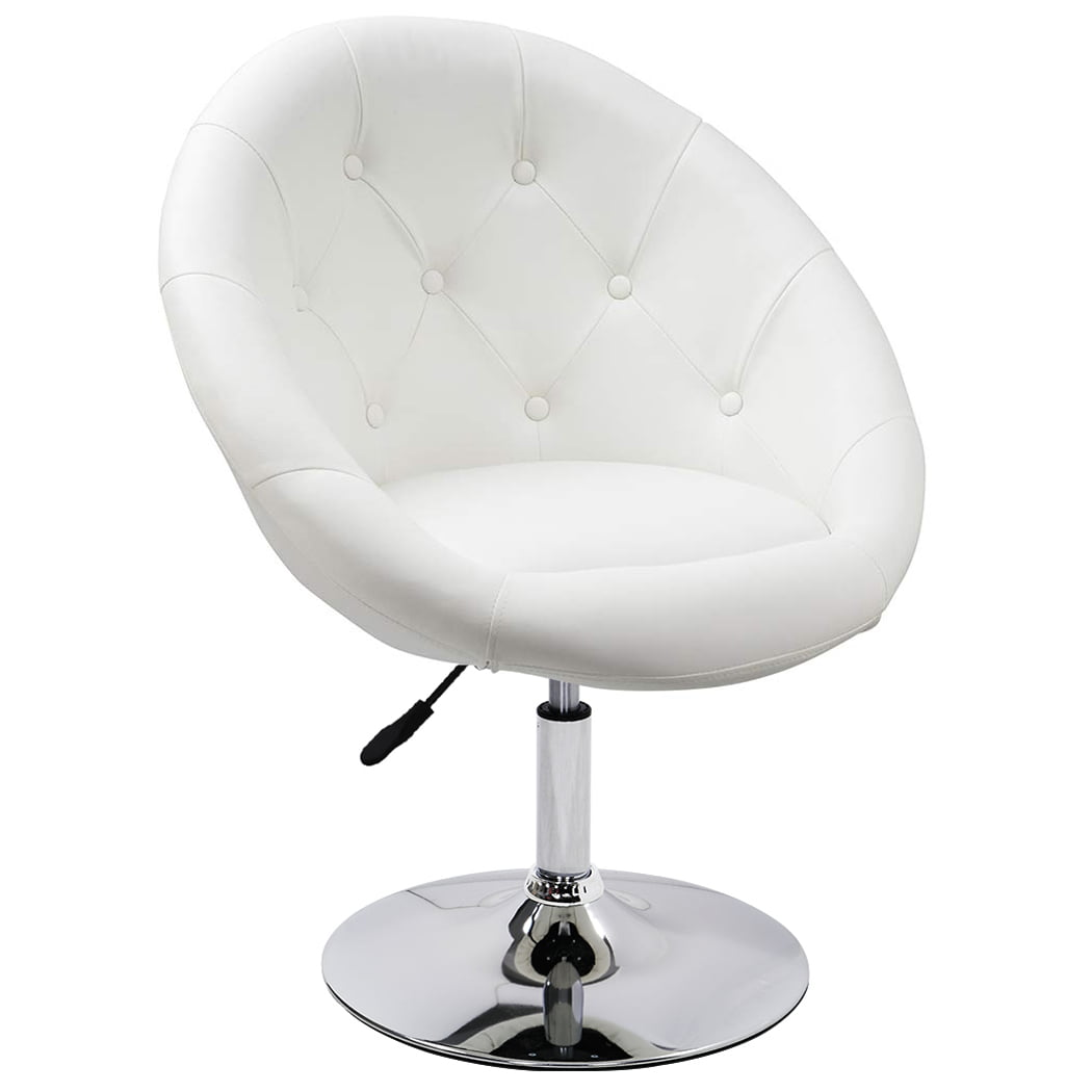 Picture of: Duhome Vanity Make Up Accent Chairs Jumbo Size Luxury Pu Leather Contemporary Round Swivel Computer Tufted Adjustable Lounge White Walmart Com Walmart Com