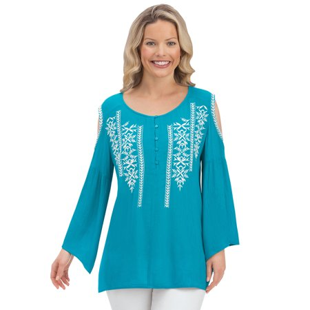 women's embroidered cold shoulder pretty bell sleeve peasant top blouse, xx-large,