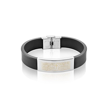 Men's Stainless Steel Lord's Prayer ID Rubber Bracelet (16mm) - 8.25