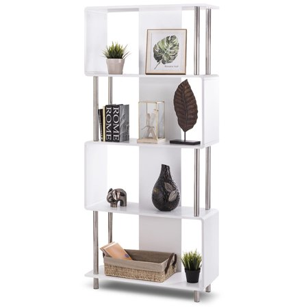 Library Display Unit (Costway Industrial Style 4 Shelf Modern Bookcase Storage Display Unit Bookshelf White)
