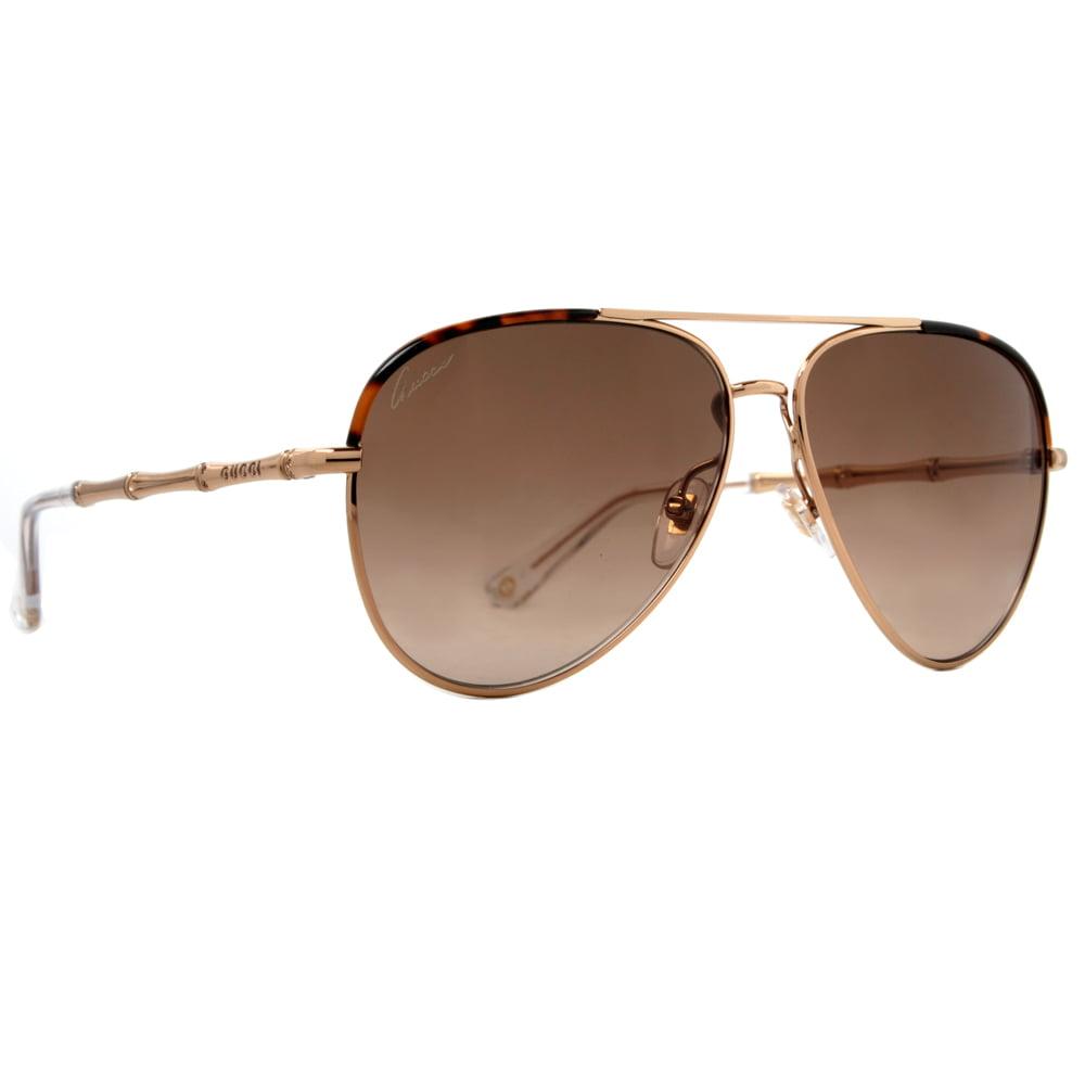 7a51bd52ad8 GUCCI - Gucci GG 4276 S J5G CC Havana Brown Gold Bamboo Women s Aviator  Sunglasses - Walmart.com