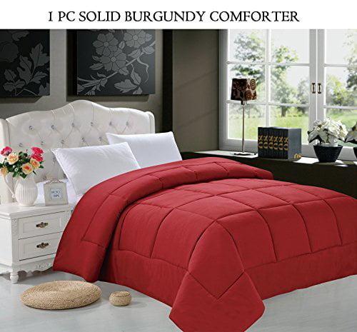 Luxury Down Alternative Over-Filled Comforter/Duvet Cover Insert Hypoallergenic, Twin, Burgundy, Luxury ultra soft hi-loft down alternative comforter.., By Elegant Comfort