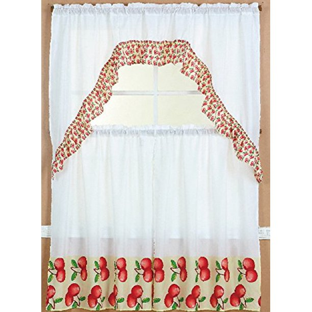 3 Piece Kitchen Curtain Set 2 Tiers And 1 Valance Apple Walmart Com Walmart Com