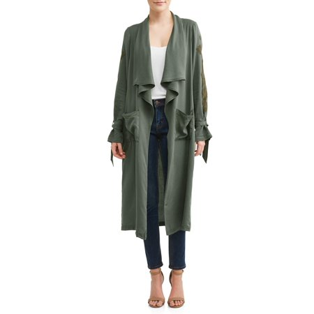 Embroidered Linen Jacket (Women's Embroidered Trench Coat)