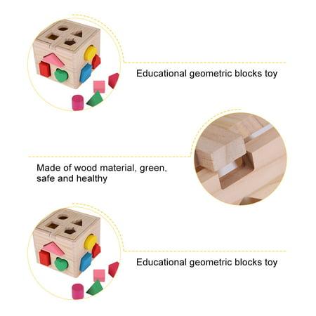 Spptty Bébé intellectuel 13 trous jeu de construction de blocs de formes géométriques précoce jouet éducatif, jouet de bloc en bois, jouet éducatif géométrique - image 3 de 7