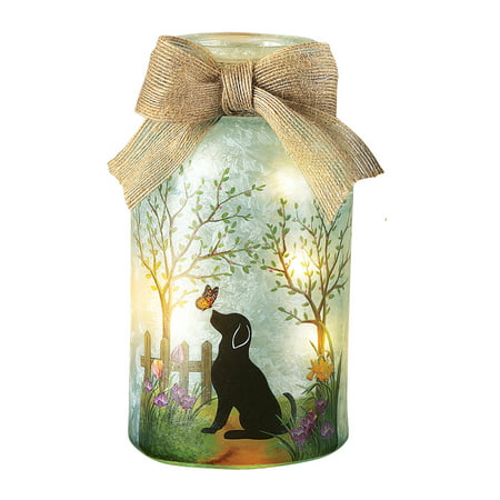 Springtime Lamp (Springtime Pet Mason Jar Lamp with Burlap Bow, Dog )