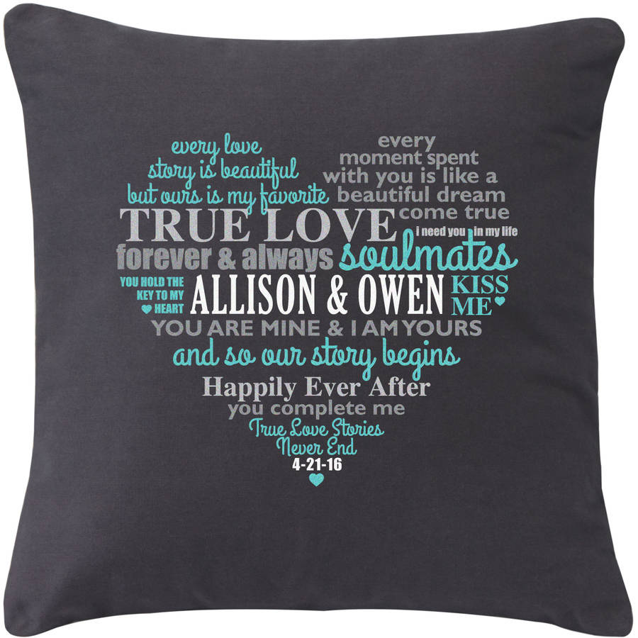 Personalized Written on my Heart Gray Throw Pillow, Teal