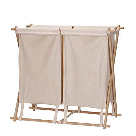 Household Essentials X-Frame Double Laundry Hamper Sorter, Natural