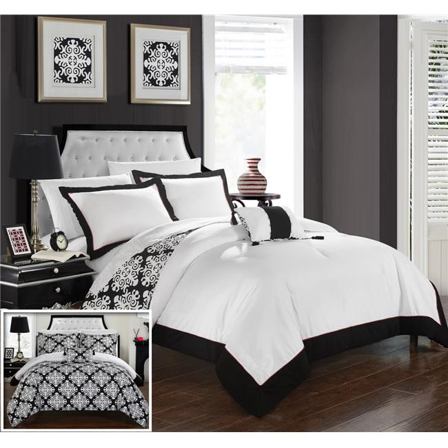 8-Piece Black Gray Hotel Bed-in-a-Bag Comforter Set and Sheet Set