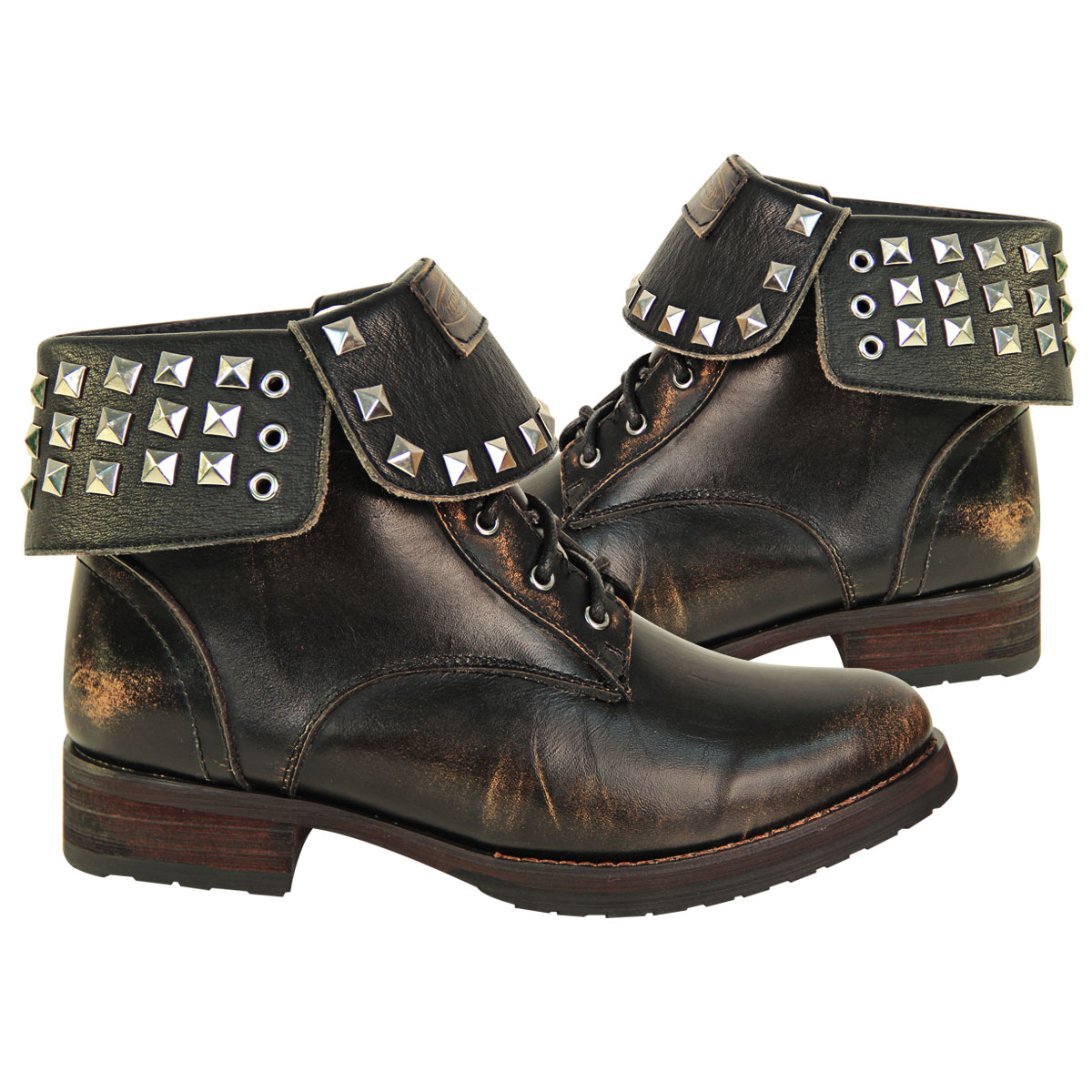 Xelement LU8033 Womens Brown Studded Lace Up Leather Boots